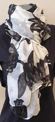 White and Black Flower Scarf