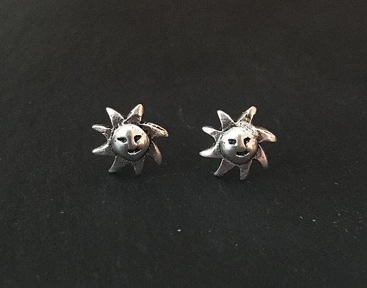 Silver Sun Stud Earrings
