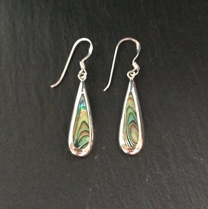 Paua Shell and Silver Teardrop Earrings