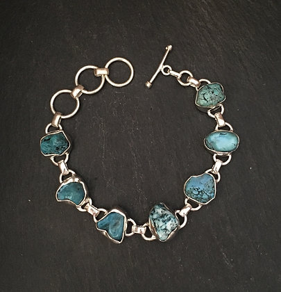 Rough Turquoise and Silver Bracelet