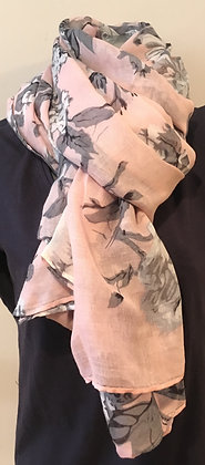 Pink and Grey Flower Scarf