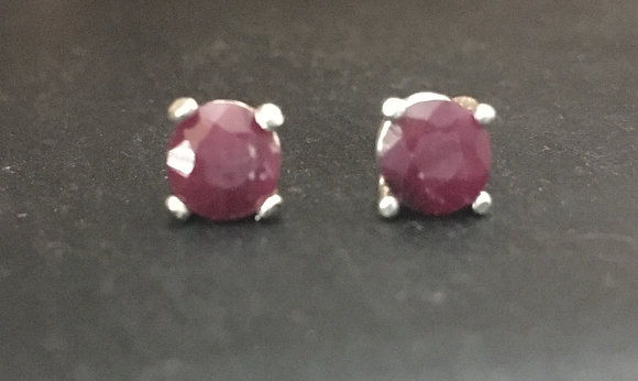 Round Ruby Stud Earrings