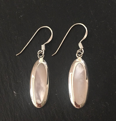 Mother of Pearl Long Oval Earrings