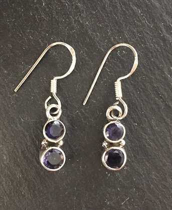 Two Stone Iolite Round Drop Earrings