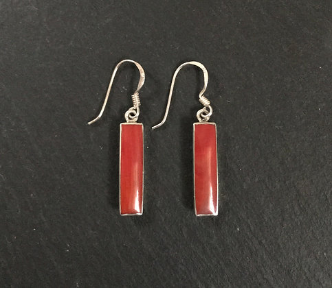 Rectangle Coral Stud Earrings