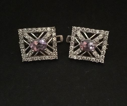 Amethyst and Cubic Zirconia Stud Earrings