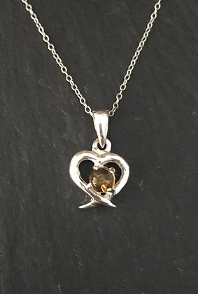 Amber and Silver Heart Pendant