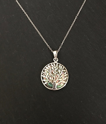 Paua Shell Tree of Life Pendant
