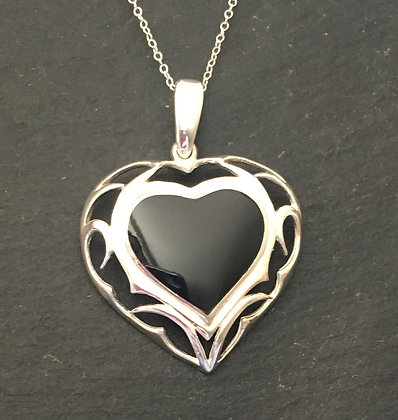 Black Onyx and Silver Heart Pendant