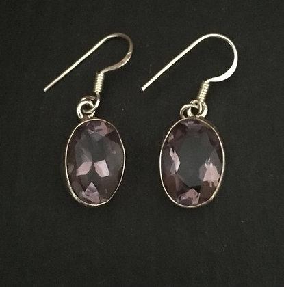 Large Amethyst Oval Drop Earrings