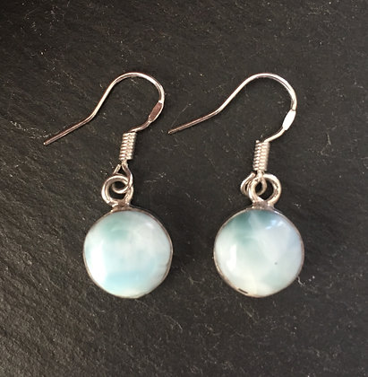 Larimar and Silver Round Drop Earrings