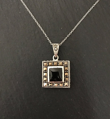 Black Onyx and Marcasite Square Pendant