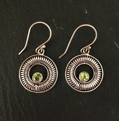 Peridot and Silver Round Earrings