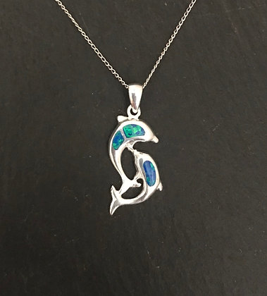 Synthetic Opal Dolphin Pendant