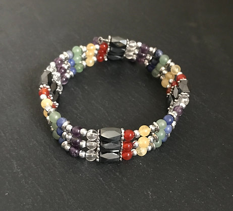 Chakra and Magnetic Hematite Bead Bracelet
