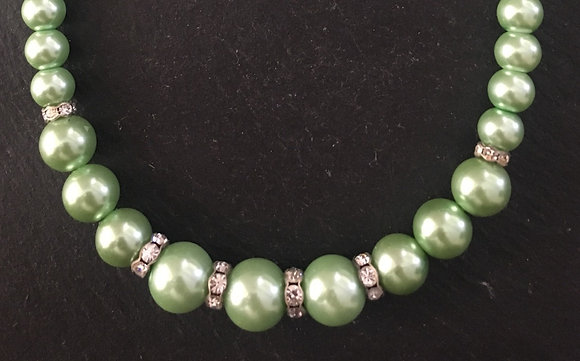 Green Coloured Pearl and Bling Bead Necklace