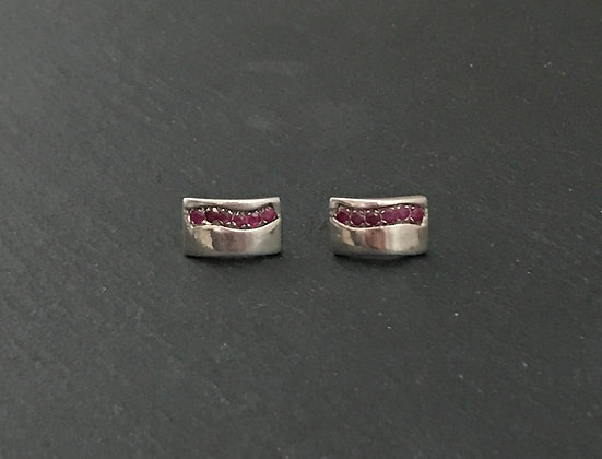 Ruby and Silver Studs
