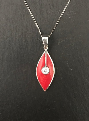 Coral and Cubic Zirconia Pendant