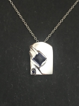 Iolite and Silver Rectangle Pendant