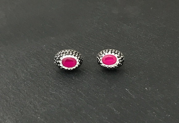 Ruby, Cubic Zirconia and Crystal Oval Stud Earrings