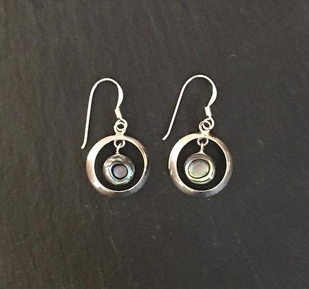 Paua Shell Round Earrings