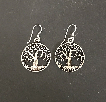 Round Silver Tree Earrings