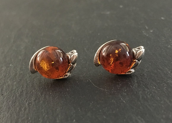 Amber and Silver Rose Stud Earrings