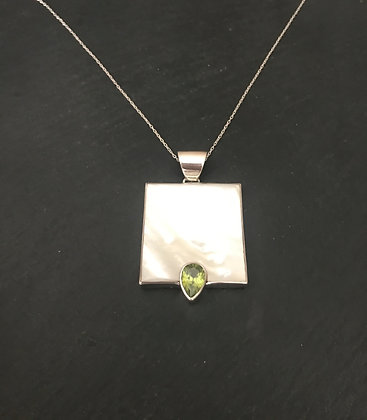 Peridot and Mother of Pearl Pendant