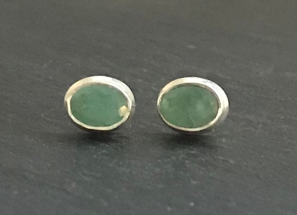 Emerald and Silver Stud Earrings