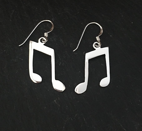 Silver Music Symbol Earrings