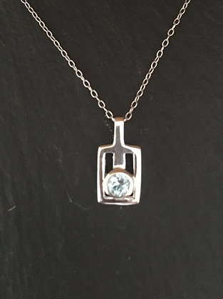 Blue Topaz and Silver Pendant