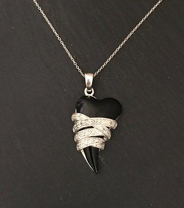 Black Onyx and Cubic Zirconia Heart Pendant
