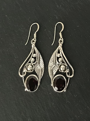 Oval Garnet and Silver Leaf Earrings