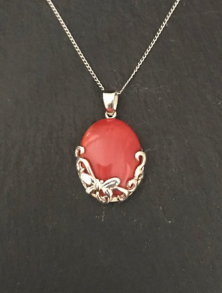 Oval Coral Pendant
