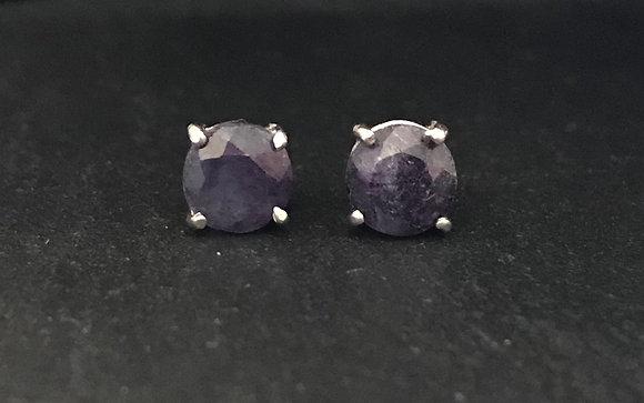 Round Sapphire Studs