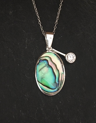 Paua Shell and Cubic Zirconia Pendant
