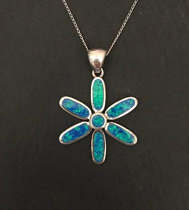 Synthetic Opal Flower Pendant