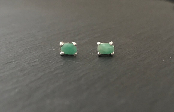 Oval Emerald Stud Earrings