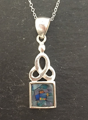 Mosaic Opal and Silver Pendant
