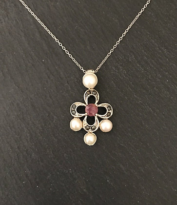 Ruby, Marcasite and Pearl Pendant