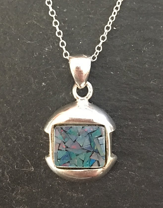 Mosaic Opal and Silver Rectangle Pendant