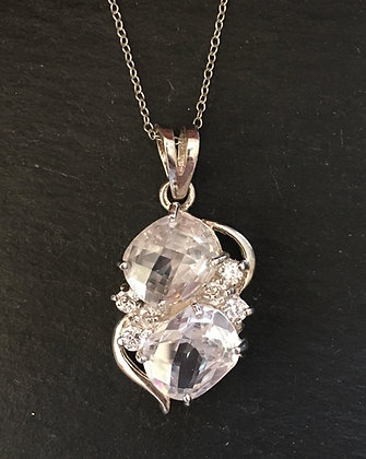 Cubic Zirconia and Silver Pendant