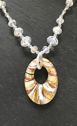 Oval White and Gold Glass Necklace
