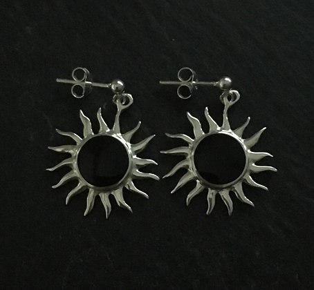 Black Onyx and Silver Sun Earrings
