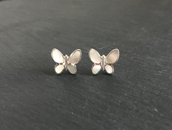 Mother of Pearl Butterfly Stud Earrings