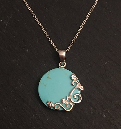 Round Turquoise & Silver Pendant