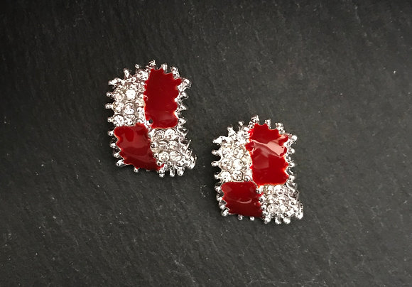 Red Rectangle Clip On Earrings