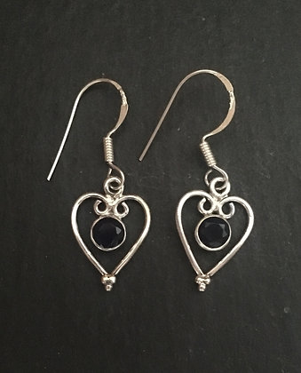 Sapphire and Silver Heart Earrings