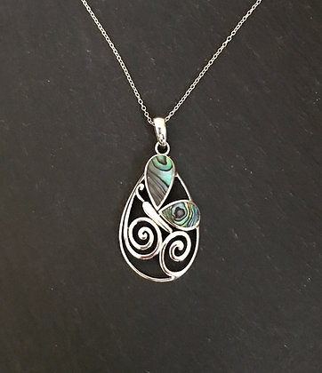 Paua Shell and Silver Butterfly Pendant