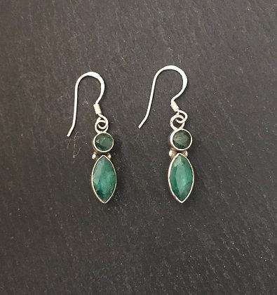 Two Stone Emerald Drop Earrings